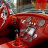 Vivid red skin interior of old retro car
