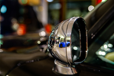 Retro car mirror close-up view