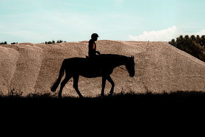 Silhouette of a horse with a rider on the background of sand pits
