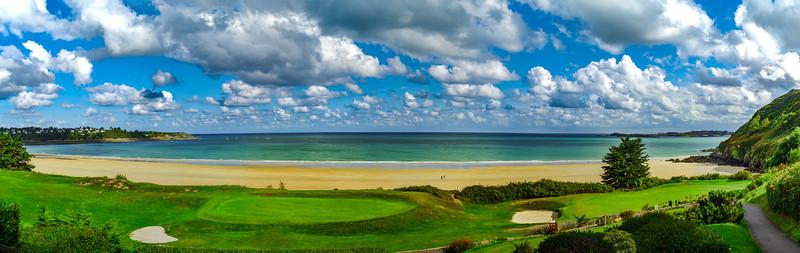 Green golf  fields on seaside in Bretagne, France