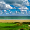 Green golf  fields on seaside in Bretagne, France