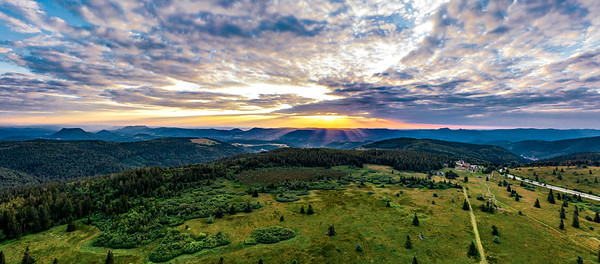 Sunset over the Vosges. Panoramic view from drone
