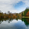 Natural autumnal landscape, lake in the high mountains, Lac de Bethmale, Pyrenees