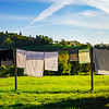 Line of underwear drying on the sun, countryside natural life