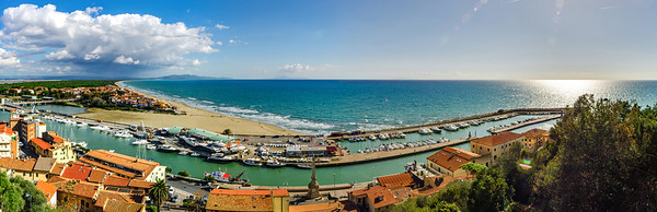 Editorial: 9th October 2017: Castiglione della Pescaia, Italy. Landscape seaside panoramic view.