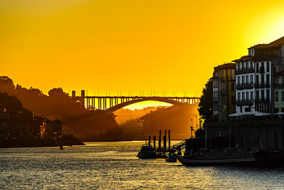 Vivid yellow and orange colors of wonderful sunset in Portugal