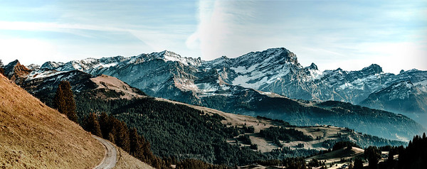 Panoramic landscape mountains videw, Alps, Switzerland, sunny day, autumn