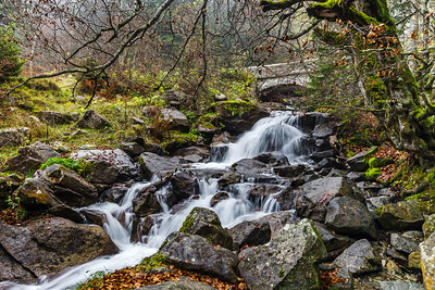 Beautiful natural waterfall in Pyrenees near Bridge of Spain