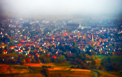 Tilt-shift aerial view of the french village