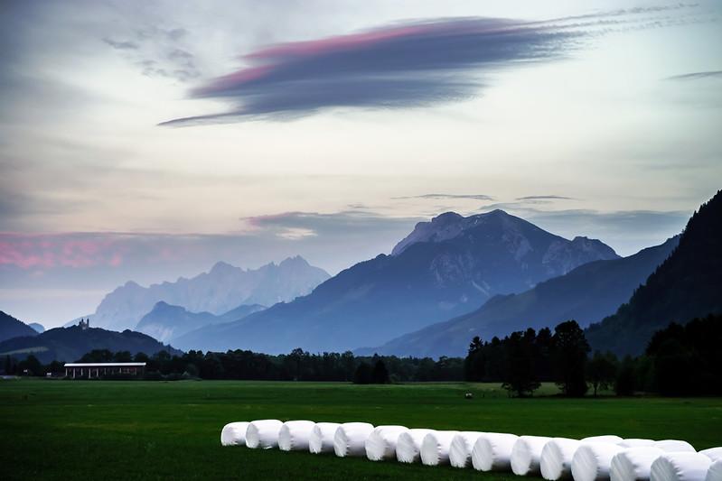 Sunset landscape in austrian Alps