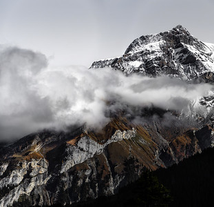 Dramatic light over the high mountains, Alps, Switzerland, panoramic view