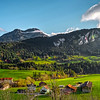Ideal place for living and leisure in the beautiful green valley, swiss Alps. Little city near the high mountains.