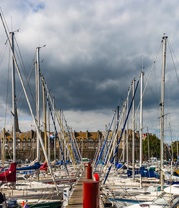 Many little boats and yachts in port of St-Malo, Brittany