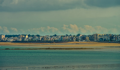 Retro film view of seaside in Brittany, low tide