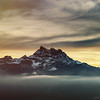 Beautiful sunset ski over the swiss Alps.