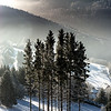Winter morning. Mountains landscape aerial view. Picturesque and gorgeous wintry scene.
