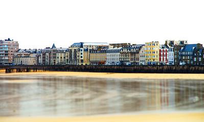 Low tide water in Brittany, seaside quay
