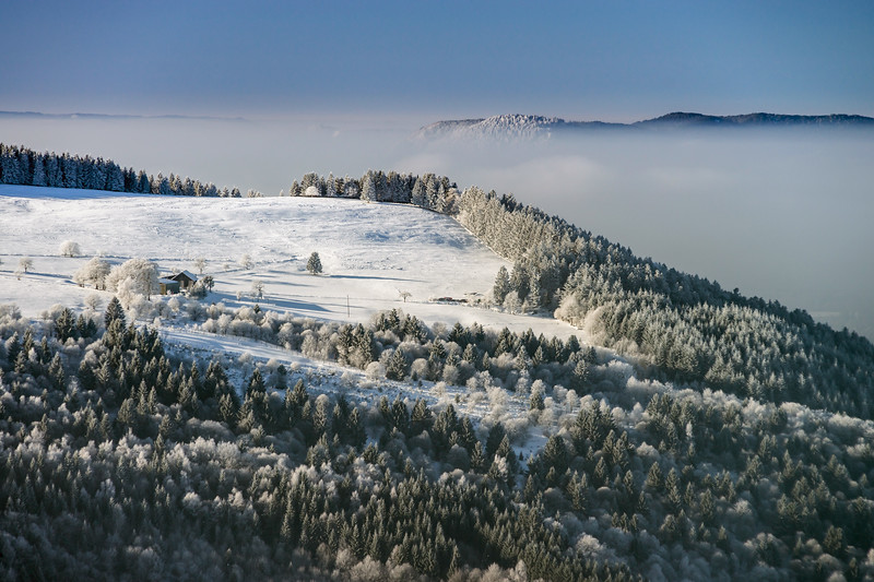 Aerial winter mountains panoramic view. Picturesque and gorgeous wintry scene. Alsace, France.
