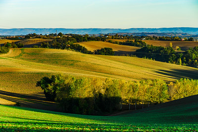 Beautiful green and yellow hills on sunset, french Tuscany