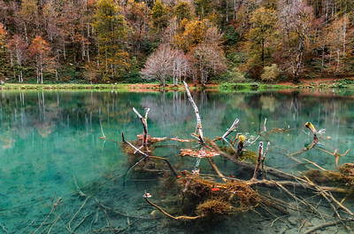 Natural autumnal landscape, lake in the high mountains, Lac de Bethmale