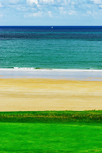 Three colors of nature, seaside in Brittany, France