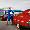 Elvis Presley's times red Cadillac and a beautiful young girl