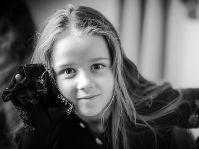 Little girl with long hair black and white portrait