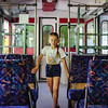 Little girl inside the alpine train, surprised of first journey