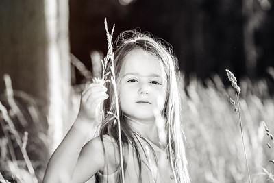 Cute little preschooler girl portrait in sunset forest