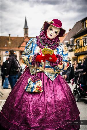 Editorial, 4 March 2017: Rosheim, France: Venetian Carnival Mask