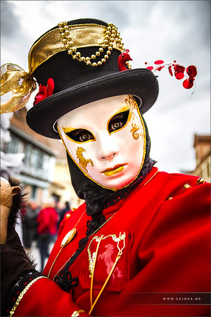 Editorial, 4 March 2017: Rosheim, France: Venetian Carnival Mask