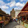 Editorial: 27th November 2019: Strasbourg, France. Christmas market. View of the Kammerzel house.