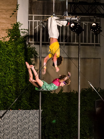 Street performers, acrobats, roving theater. Festival of theaters in the streets of Strasbourg.
