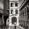 Editorial,24th September 2016: Strasbourg, France. Summer day in the touristic center of Strasbourg. Girl walking along the old street