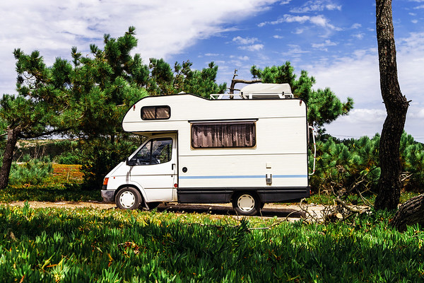 Touristic caravan in a forest