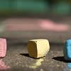 Colorful chalk on asphalt