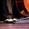Double bass detail, musician plays bass part in jazz orchestra
