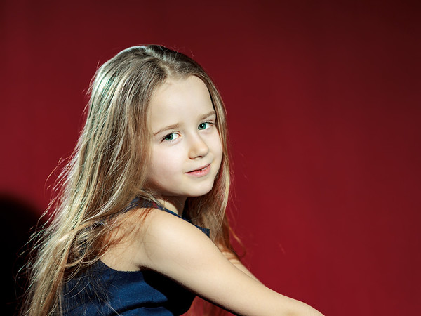 Cute little girl with long hair portrait