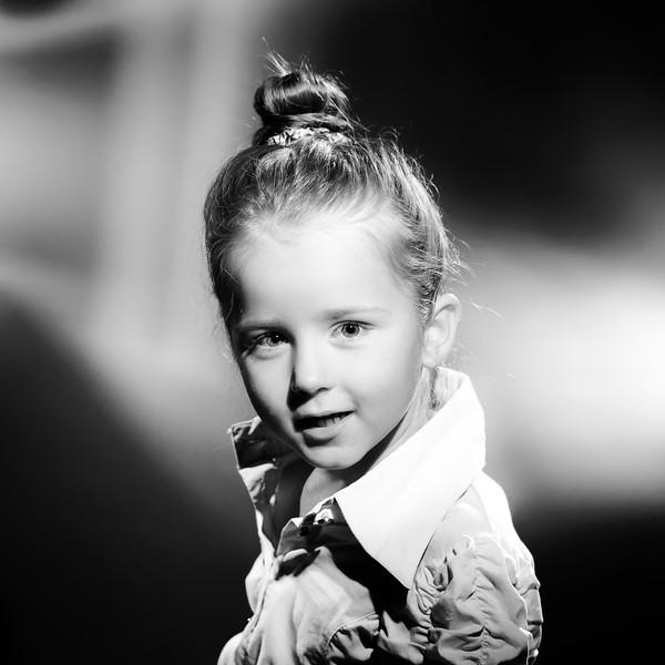Expressive preschooler girl portrait in harcourt vintage style