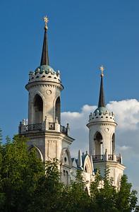 Beautiful church near Moscow, Russia. Sunny day.