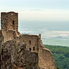 Majestic medieval castle Girsberg ruins on the top of the hill