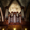 Beautiful pipe organ in old medieval cathedral, Bretagne