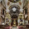 Beautiful wide panoramic interior view of majestic baroque church in Ebersmunster, Alsace