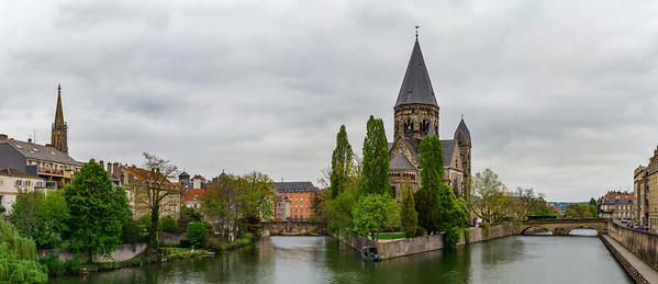 Beautiful cathedral in Metz, France, acloudy weather