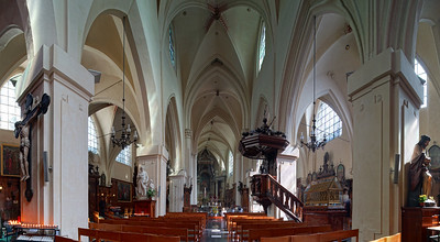 Beautiful gothic cathedral interior, panoramic view, St. Nicholas Church