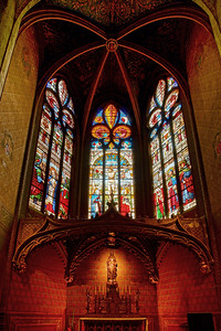 Majestic Auch cathedral interior leaded pane view