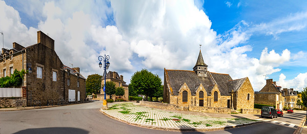 High resolution panoramic view of the street with church in little french village