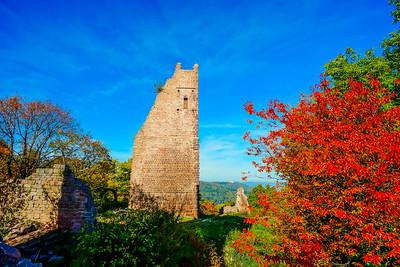 Old medieval castle ruins in Alsace, France