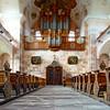 Tilt-shift perspective view inside church