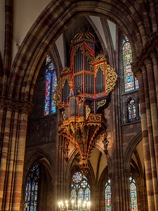 Majestic interiior of Strasbourg Cathedral with no persons inside